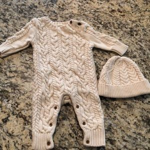 Baby unisex cable knit set